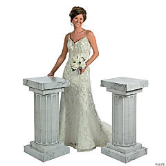 Marble-Look Fluted Columns - 3 ft.