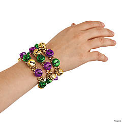 Mardi Gras Beaded Bracelets with Jingle Bells