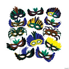 Mardi Gras Feather Mask Assortment