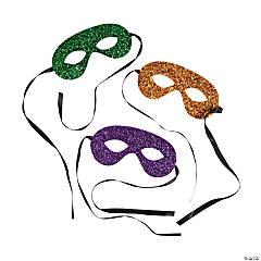 Mardi Gras Glitter Tie Masks