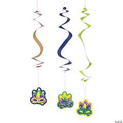 Mardi Gras Prismatic Hanging Swirls