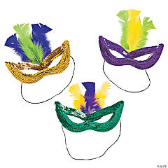 Mardi Gras Sequin Masks with Feathers