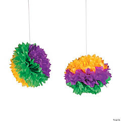 Mardi Gras Tissue Pom-Poms