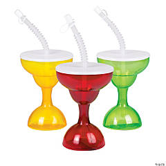 Margarita Plastic Glasses with Lid & Straw
