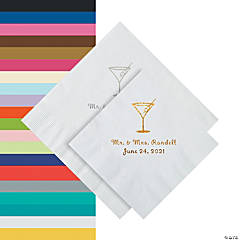 Martini Glass Personalized Napkins - Beverage or Luncheon
