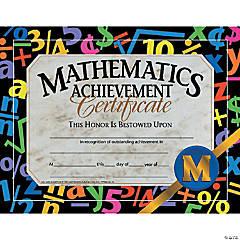 Mathematic Achievement Certificate, 30 per Pack, 6 Packs