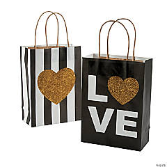 Medium Black & Gold Glitter Wedding Kraft Paper Gift Bags