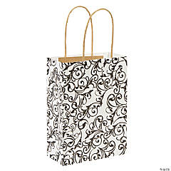 Medium Black & White Kraft Paper Gift Bags
