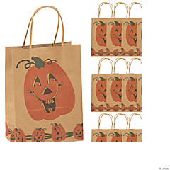 Medium Brown Jack-O'-Lantern Gift Bags