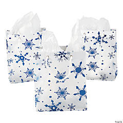 Medium Clear Gift Bags with Snowflakes