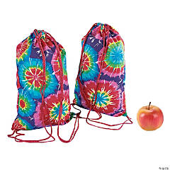 Medium Colorful Tie-Dyed Drawstring Bags