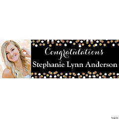 Medium Custom Photo Black & Gold Graduation Banner