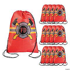 Medium Firefighter Party Drawstring Bags