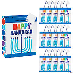 Medium Happy Hanukkah Gift Bags with Gift Tags