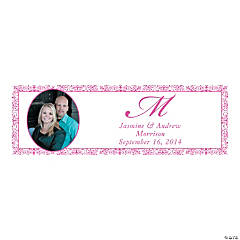 Medium Hot Pink Flourish Custom Photo Wedding Banner