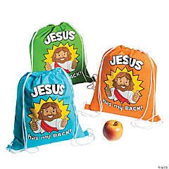 Medium Jesus Has My Back Drawstring Bags