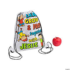 Medium Learn, Grow & Pray Drawstring Bags