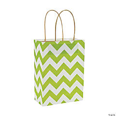 Medium Lime Green Chevron Kraft Paper Gift Bags