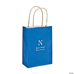 Medium Monogrammed Blue Roman Kraft Paper Gift Bags