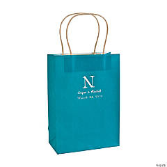 Medium Monogrammed Turquoise Kraft Paper Gift Bags