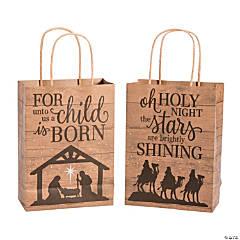 Medium Nativity Barnwood Print Kraft Paper Gift Bags