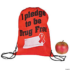 Medium Pledge to be Drug Free Drawstring Bags