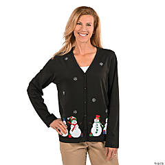 Medium Puffy Snowman Cardigan For Women
