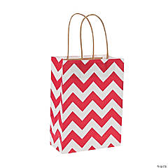 Medium Red Chevron Kraft Paper Gift Bags
