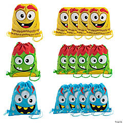 Medium Silly Monster Drawstring Bags