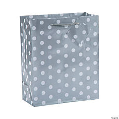 Medium Silver Polka Dot Gift Bags
