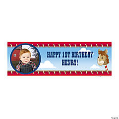 Medium 1st Birthday Cowboy Custom Photo Banners
