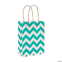 Medium Turquoise Chevron Kraft Paper Gift Bags