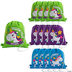 Medium Unicorn Drawstring Bags