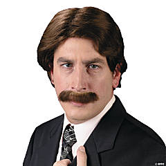 Men's 70s Wig & Mustache Set