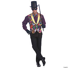 Men's Vest & Bow Tie Mardi Gras Costume Set