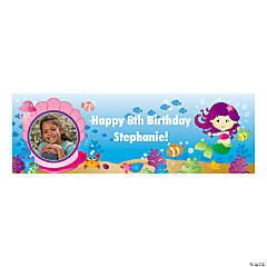 Mermaid Party Small Custom Photo Banner