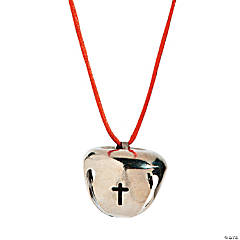 Metal Silver Jingle Bells with Cross Cutout Necklaces
