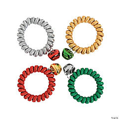 Metallic Coil Jingle Bell Bracelets