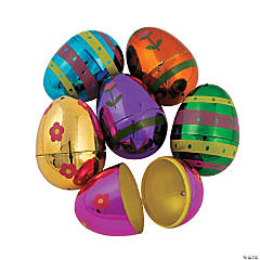 Metallic Decorated Plastic Easter Eggs