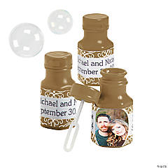 Metallic Gold Custom Photo Hexagon Bubble Bottles
