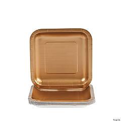 Metallic Gold Square Paper Dessert Plates