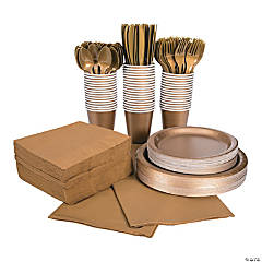 Metallic Gold Tableware Party Pack for 48