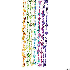 Metallic Neon Star Bead Necklaces