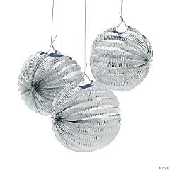Metallic Silver Paper Balloon Lanterns