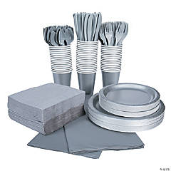 Metallic Silver Tableware Party Pack for 48