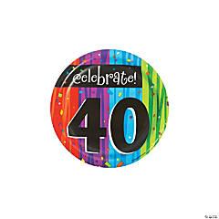 Milestone Celebration 40th Birthday Paper Dessert Plates