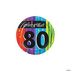 Milestone Celebration 80th Birthday Paper Dessert Plates