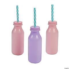 Milk Bottles with Straws