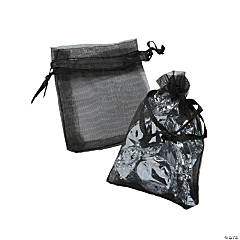 Mini Black Organza Drawstring Treat Bags