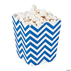 Mini Blue Chevron Popcorn Boxes